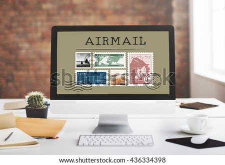 Postal Postage Mail Package Stamp Concept - stock photo