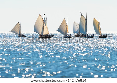 Postal rowing boats between Grisslehamn (Sweden) and Eckerö (Åland) in sunny weather - stock photo