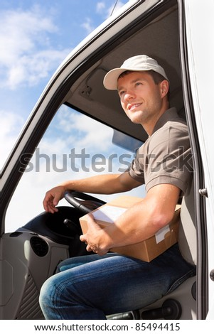 Postal service - delivery of a package through a delivery service - stock photo