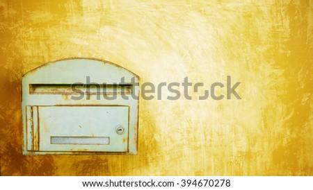 postbox on the concrete background - stock photo