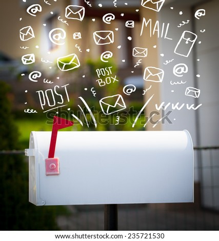 Postbox with white hand drawn mail icons - stock photo
