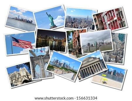 Postcard collage from New York City, USA. Collage includes major landmarks like Brooklyn Bridge, Statue of Liberty, Manhattan skyline and Columbia University. - stock photo