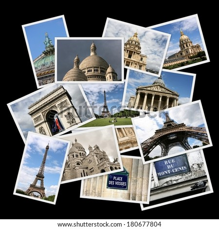Postcard collage from Paris, France. Collage includes major landmarks like Triumphal Arch, Eiffel Tower, Vosges square and Opera Garnier. - stock photo