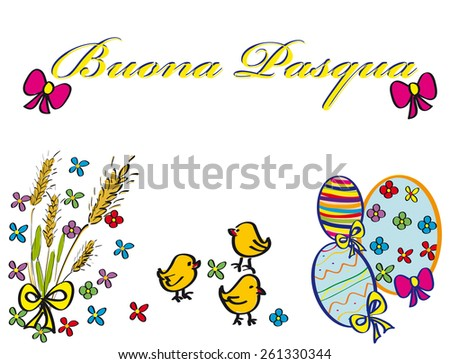 postcard Easter eggs decorated with flowers and ears of wheat - stock photo