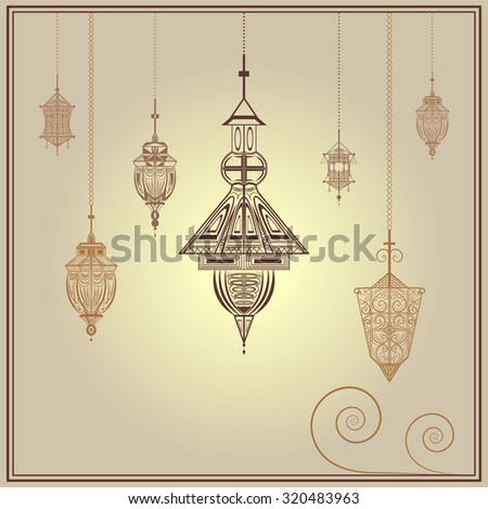 Postcard ethnic with hanging patterned lanterns for congratulations on the sandy background. Vintage style lamp for the greetings for the holy month of fasting Ramadan Kareem. illustration