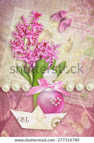 Postcard flower. Congratulations card with butterfly, pearls, hyacinth, perfume bottle and paper boat. Can be used as greeting card, invitation for wedding, birthday and other holiday happening. - stock photo