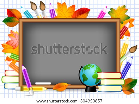 Postcard for Postcard for Knowledge Day. Blackboard with school supplies and autumn leaves around. Raster illustration