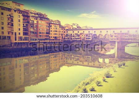 Postcard from Florence, Italy, vintage retro effect. - stock photo