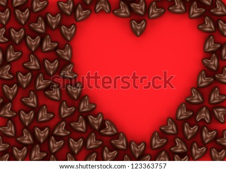 Postcard from scattered chocolate candy hearts on a red velvet background