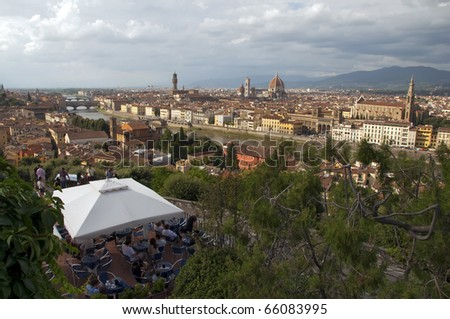 Postcard  of Firenze from Piazzale Michelangelo Italy - stock photo
