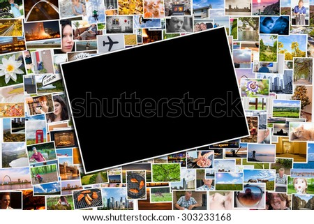 Postcard or photo template with a background of photos and postcards with several destinations from all over the world