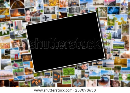 Postcard or photo template with a blurred background of photos and postcards with several destinations from all over the world - stock photo