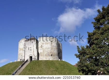 Postcard view of Cliffords Tower, York, North Yorkshire, England, UK - stock photo
