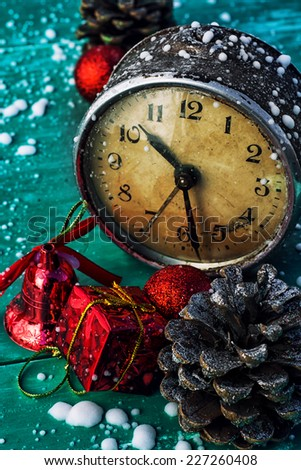 postcard with Christmas accessories in vintage style - stock photo