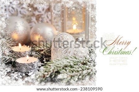 Postcard with Christmas composition with candles - stock photo