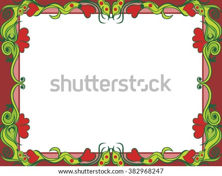 Postcard with floral elements in dim colors, hand drawing illustration