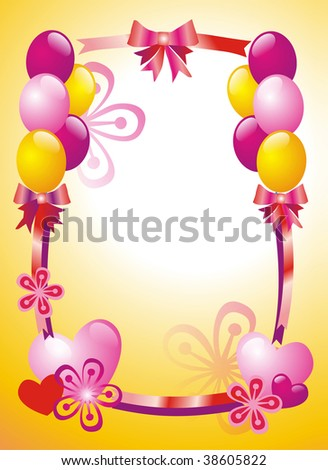 Postcard with flowers and ballons - stock photo