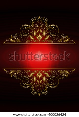 Postcard with gold floral pattern and red back lighting at the center on a black background  - stock photo