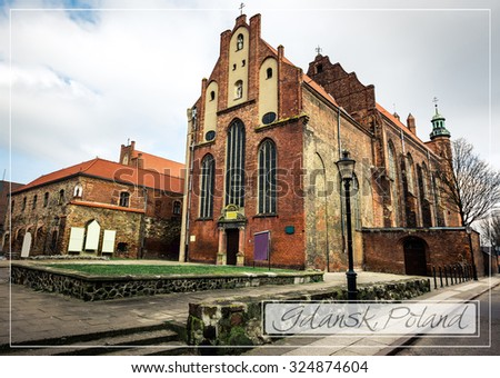 postcard with Historical Old Town of Gdansk in Poland - stock photo