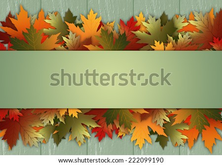 Postcard with leaves - stock photo