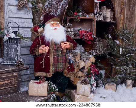 postcard with Santa Claus in fairy tale decor - stock photo
