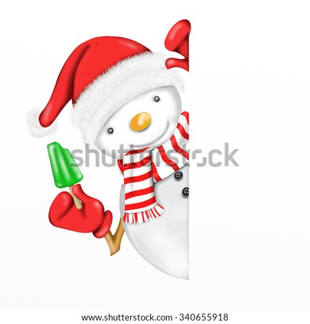 postcard with snowman with icicle mint