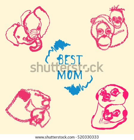 Postcard with the image of mothers of animals with the cubs and inscription Best mom