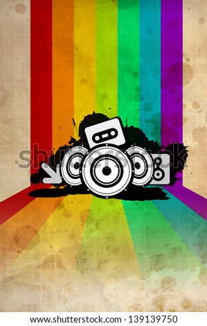 Poster background - 80's style disco. Vintage ornament with copyspace - stock photo