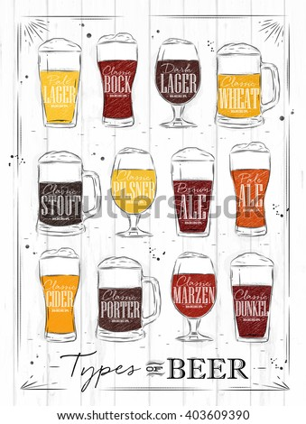 Poster beer types with main types of beer pale lager, bock, dark lager, wheat, stout, pilsner, brown ale, pale ale, cider, porter, marzen, dunkel drawing with coal in vintage style on wood background. - stock photo