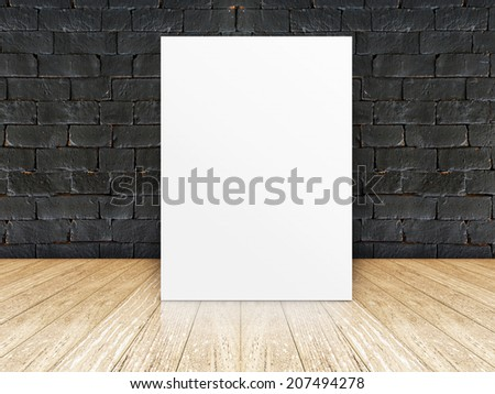 Poster black brick wall and wooden plank floor