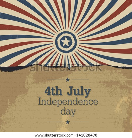 Poster design for 4th july celebration. Raster version, vector file available in my portfolio. - stock photo