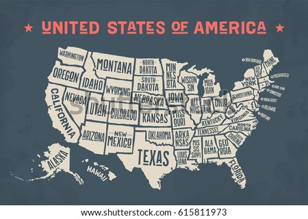 Poster Map United States America State Stock Illustration - Poster map of usa