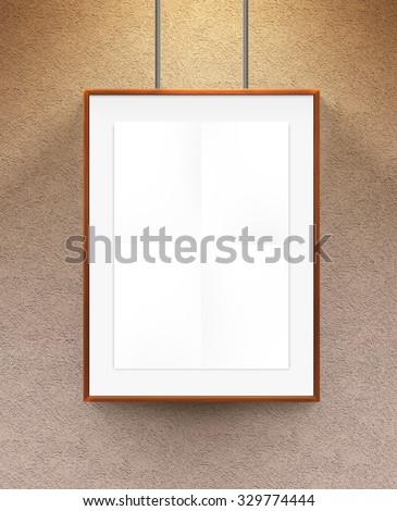 Poster mock up in the wooden frame. Nice mockup to show your design, picture or illustration. Blank sheet in wood canvas near the textured wall. Display movie theatre cinema film with poster holder. - stock photo