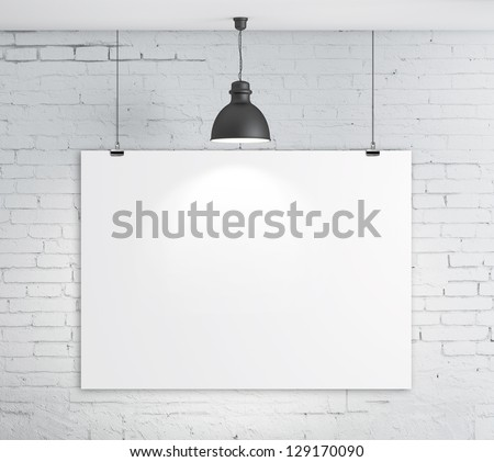 poster on brick wall and plafond - stock photo