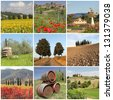 poster with amazing beauty of tuscan scenery, Italy, Europe - stock photo