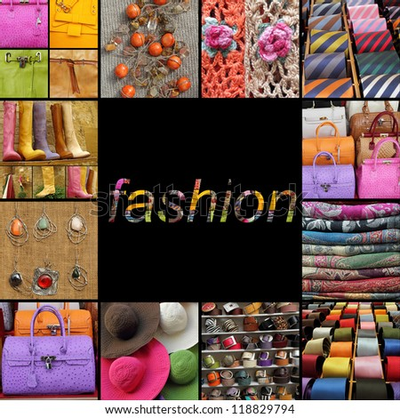 poster with fashion fancy accessories,collection of  images from italian shop windows, Europe - stock photo