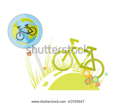 Poster. World Day without cars. sign cycle track - stock photo