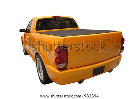 Posterior View Of Yellow Pickup Truck Isolated Over White - stock photo
