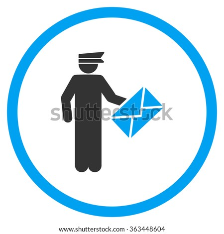 Postman glyph icon. Style is bicolor flat symbol, blue and gray colors, rounded angles, white background. - stock photo
