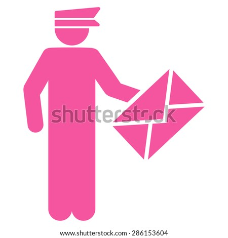 Postman icon from Business Bicolor Set. This flat glyph symbol uses pink color, rounded angles, and isolated on a white background. - stock photo