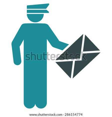 Postman icon from Business Bicolor Set. This flat glyph symbol uses soft blue colors, rounded angles, and isolated on a white background. - stock photo