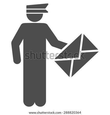 Postman icon from Business Bicolor Set. This flat raster symbol uses gray color, rounded angles, and isolated on a white background. - stock photo