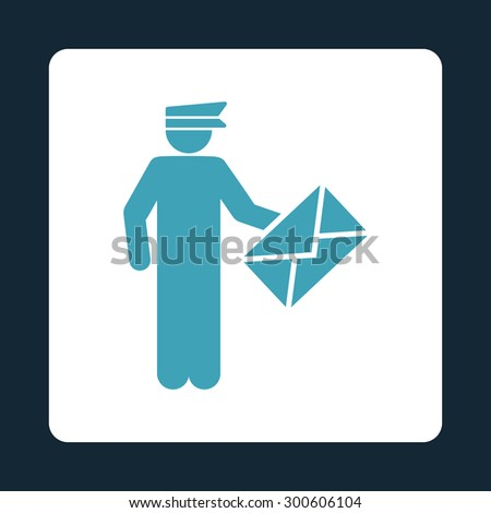 Postman icon. This flat rounded square button uses blue and white colors and isolated on a dark blue background. - stock photo