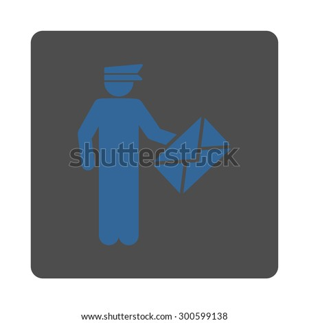 Postman icon. This flat rounded square button uses cobalt and gray colors and isolated on a white background. - stock photo
