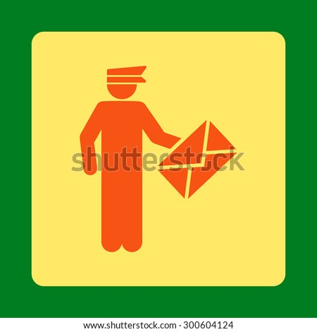 Postman icon. This flat rounded square button uses orange and yellow colors and isolated on a green background. - stock photo