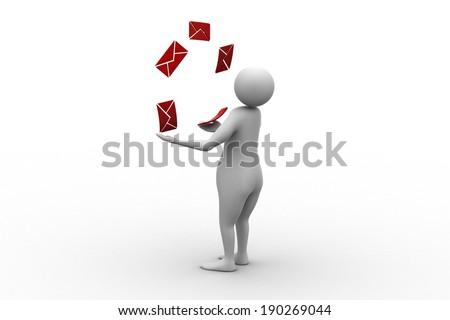 postman losing mails - stock photo