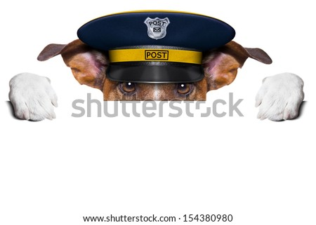 postman mail dog hiding behind blank banner - stock photo
