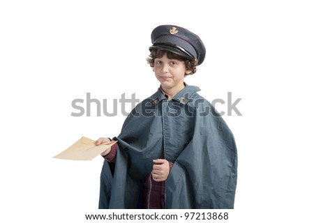 postman making an unhappy face with letters and cap and rain coat on white background