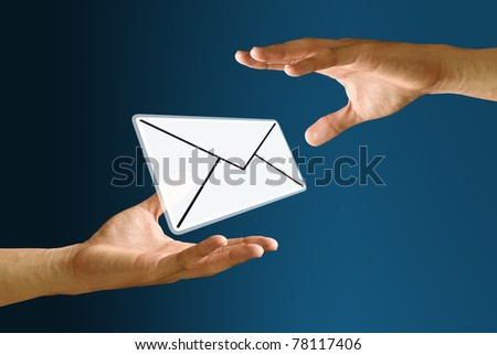 Postman's hand sending mail icon to bearer - stock photo