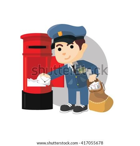 Postman taking mail  - stock photo